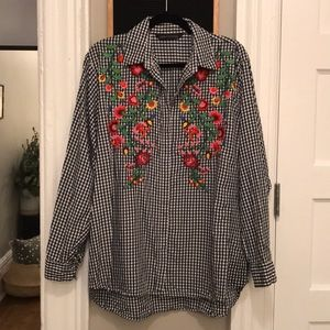 Zara Embroidered Gingham Shirt - Women's Size L